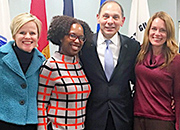 Kristin Mattocks, PhD, is pictured with U.S. Department of Veterans Affairs Secretary Robert A. McDonald, Amber Brown of UMMS, and Rebecca Baldor of VA.