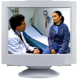 Patient video shown on computer screen