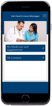 Mobile app displaying the health care management screen